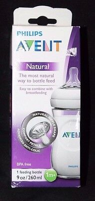 Philips AVENT Natural 1-9 oz/260 ml Baby Feeding Bottle 1m+