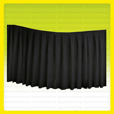 """14 ft x 29"""" Table Skirt Tablecloth Wedding Party Polyester Linens, No Top, BLACK"""
