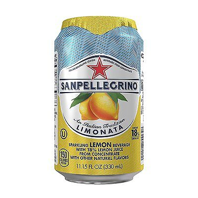 San Pellegrino Sparkling Fruit Beverages Limonata/Lemon 11.15-ounce cans NEW