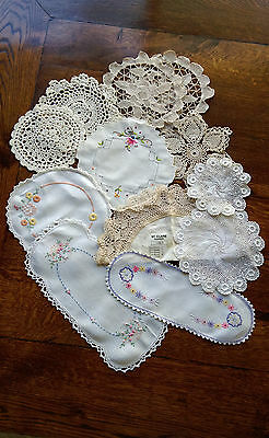 Collectable Vintage Doileys Embroidered & Crochet Lot 12 Linen Cotton assorted