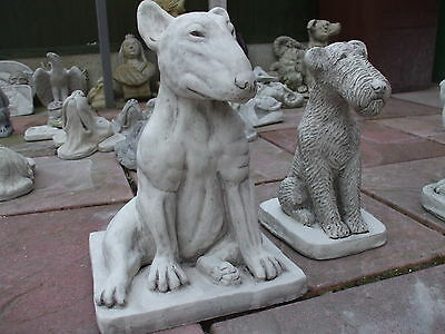 Big Sitting English Bull Terrier Dogs  Stone  Sculpture