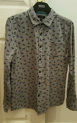Boys Long Sleeve Shirt From M&s Autograph - Dog Design - Size 12-13 Years