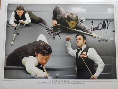 Signed 16 X12 Photo Montage Ronnie O' Sullivan and Jimmy White Proof COA