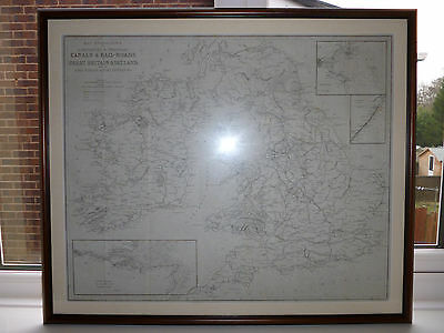 Antique ORIGINAL Framed GREAT BRITAIN MAP  C1834 RAILWAYS CANALS by Longman