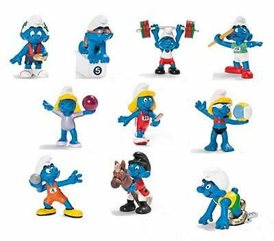 New Smurfs - 2012 Smurf Olympic Figures. Lot of 10 new Smurfs by Schleich