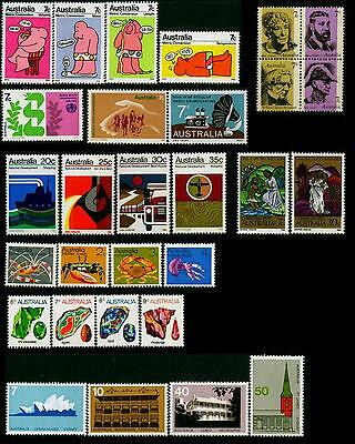 Australia MNH MUH Collection of Stamps - 1973 Complete Full Year