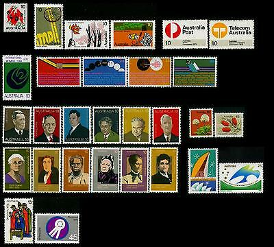 Australia MNH MUH Collection of Stamps - 1975 Complete Full Year