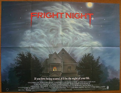 Fright Night, Original 1985 British Quad Movie Film Cinema Poster