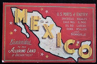 Nice Vintage Map Postcard of MEXICO