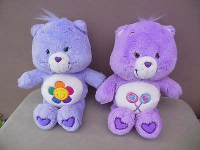 2 x care bear soft toys purple harmony and purple lollies