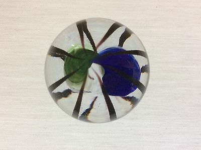 TRAPPED TWIST GREEN BLUE  HANDMADE MARBLE 38mm TEIGN VALLEY GLASS box & stand