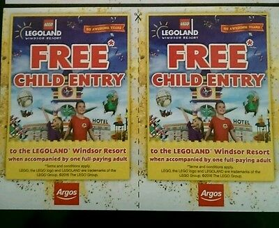 Free Child Entry X 2 Legoland Windsor * When Accompanied By Full Paying Adult