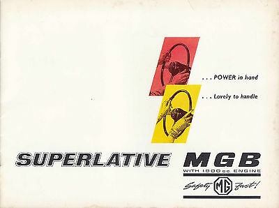 MG MGB WITH 1800 c.c. ENGINE BROCHURE, DATED 8/62.