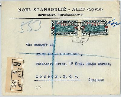 58970 - SYRIA  - POSTAL HISTORY:  REGISTERED COVER to ENGLAND