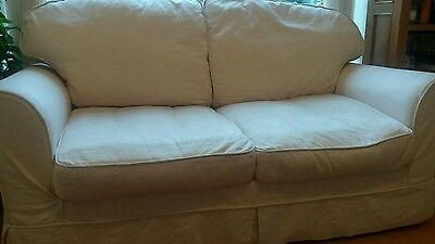 3 Seater Cream Sofa Bed With Removable Covers (£2000 New)
