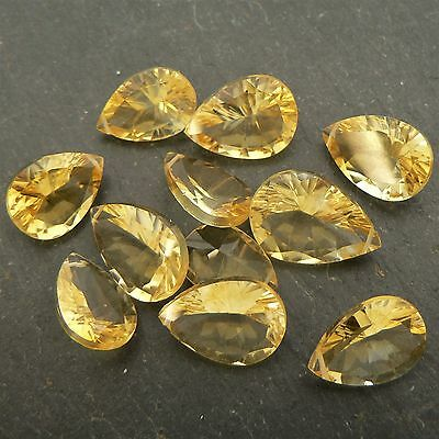 Citrine Faceted AAA Concave Pear Briolette (per bead) Semi Precious Gemstone