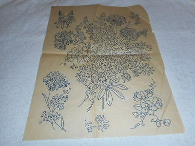 Vintage Embroidery Iron on Transfer- Spray of Flowers