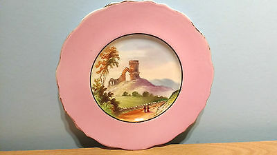 """Lovely Vintage 23.25cm Plate With Hand Painted Scene: """"Mow Cop Castle"""".V.G.Cond."""