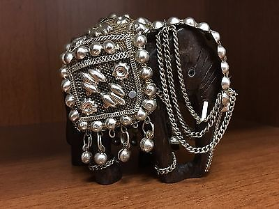 Hand Carved Wooden Elephant Statue Figurin Silver Blanket Luck Feng Shui vintage