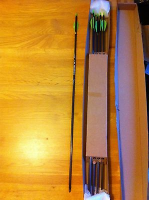 "6x Easton Superlite Carbon arrows - 400 - Vanetech vanes/fletching - 29-30"" long"