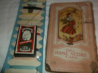 Antique paper Needle case, Gold Eyes, sewing lot Old