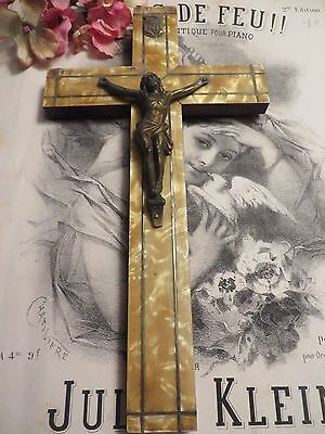 BEAUTIFUL VINTAGE FRENCH  CRUCIFIX / CROSS  ~  1920's /30's