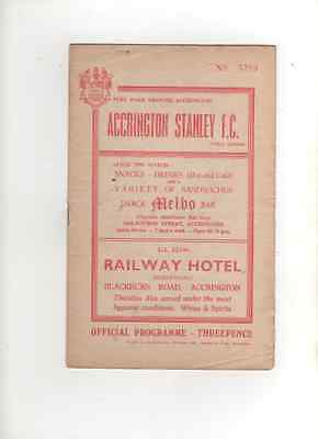 1960-61  Accrington Stanley v Crystal Palace 17th December 1960 Division 4