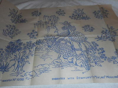 Vintage Embroidery Iron on Transfers-Bestway No.1686- Crinoline Lady in a Garden
