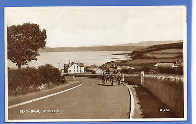 Old Vintage Postcard Beach Road Benllech Anglesey Wales