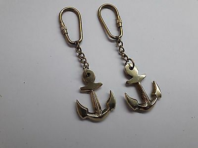 2 X Beautiful Brass Ship Anchor Key chain old style antique Quality Nautical
