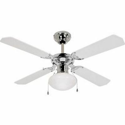 Ceiling Fan in Modern White and Chrome RRP 44.99 lot UNTGD 9023497