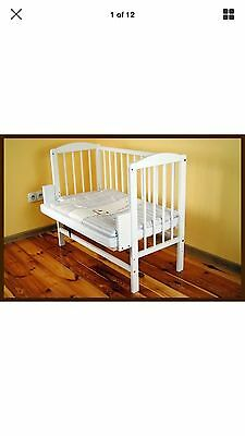 Co Sleeper Bedside Cot WHITE 3 in 1 bed crib baby wooden convertible