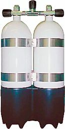 Twin 10 litre Apex Diving cylinders with Apex Manifold