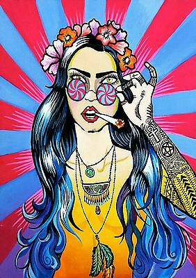 Hippie Stoner - A4 Glossy Poster - Game TV Film Movie Free Shipping #132