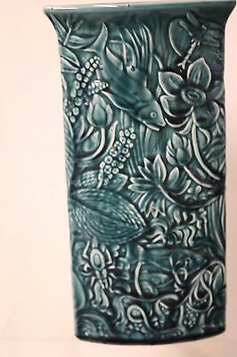 Poole Pottery Triangular Blue Carved Vase by Tony Morris