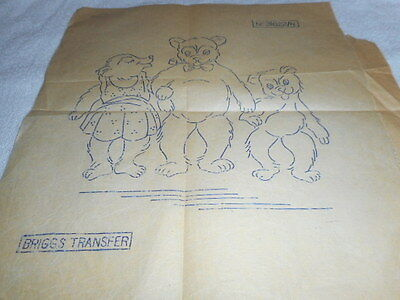 Vintage Embroidery Iron on Transfer- Briggs 31022 -Teddy Bear Family
