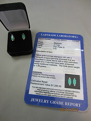 Certified 2.11 ctw Emerald and 14k Yellow Gold Earrings Marquis Cut