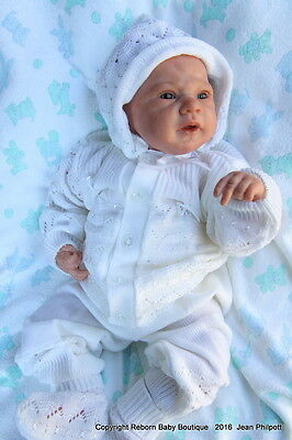 DARLING Fine Delicate Knit Baby Doll Outfit For Reborn WHITE