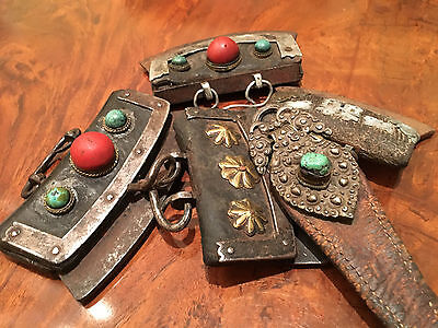 Group of Group Four Antique Tibetan Silver Leather Nomadic Purses and a Belt.