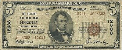 1929 $5 National Banknote ~ Hershey, Pennsylvania ~  Dauphin County