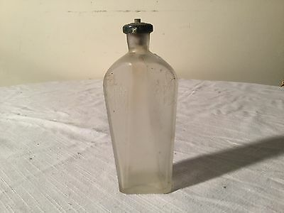 Vintage/Antique Frosted Glass Bottle Butterfly Designs Perfume Or Tonic Use?
