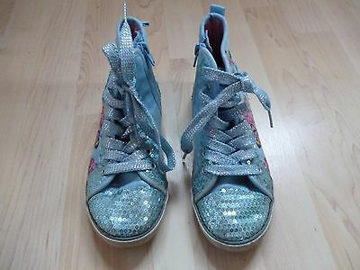 Girls Hush Puppies Glitter Sequin Hi Top Shoes Trainers Size 13 Flowers Canvas