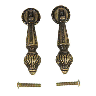 2pcs Antique Cabinet Drawer Bin Cupboard Drop Pull Knob Hanging Design Handles