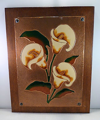 vintage arts and crafts enamel & copper picture