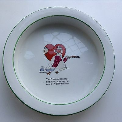 Rare Shelley China Childrens Porringer Bowl Queen Hearts Alice In Wonderland