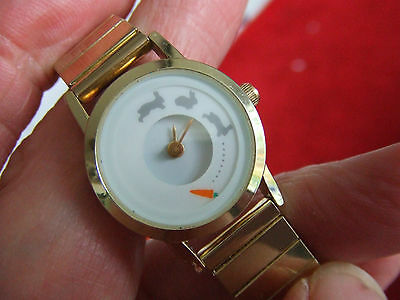 Ladies Gold Plated Watch with moving Rabbit and Carrot Dial