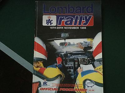 Official Programme Lombard RAC Rally 1986 Excellent Condition