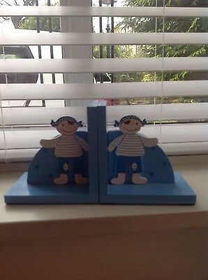 Pirate Wooden Bookends, blue/white