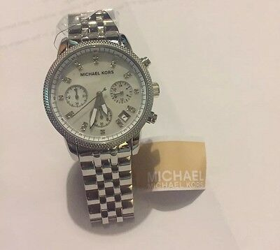 Women's Michael Kors NEW Ritz Chronograph Silver Watch