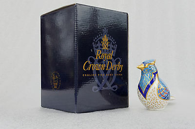 Royal Crown Derby Blue Jay Paperweight, 1st Quality Gold Stopper, Original Box